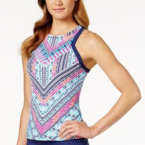 JAG Chevron High Neck Racerback Tankini Top M